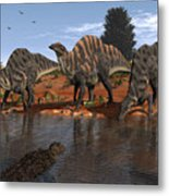 Ouranosaurus Drink At A Watering Hole Metal Print