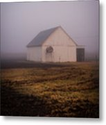 Out Building In The Fog Metal Print