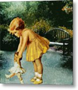 Out For A Stroll In The Garden Metal Print