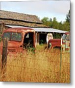 Out Of Gas. Rusty Trucks And Texaco Sign Metal Print