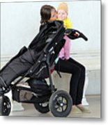 Out Of The Baby Stroller -- A Mother And Daughter Metal Print