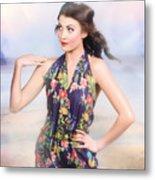 Outdoor Fashion Portrait. Spring Twilight Beauty Metal Print