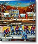 Outdoor Hockey Rink Metal Print