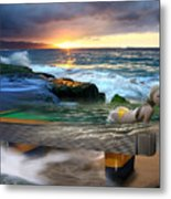 Outdoor Pool Metal Print