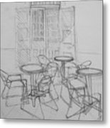 Outdoor Seating - Pirates Alley - French Quarter Metal Print