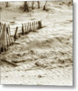 Outer Banks Beach Sand Fence  Metal Print
