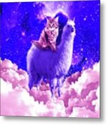 Outer Space Galaxy Kitty Cat Riding On Llama Metal Print