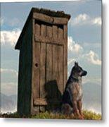 Outhouse Guardian - German Shepherd Version Metal Print