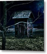 Outhouse In The Moonlight With Flying Crows Metal Print