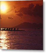 Outrigger Canoe At Sunset Metal Print