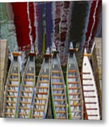 Outrigger Canoe Boats And Water Reflection Metal Print by Ben and Raisa Gertsberg