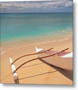Outrigger On Beach Metal Print