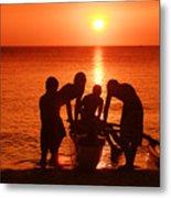 Outrigger Sunset Silhouet Metal Print