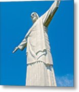 Outstretched Arms Of Christ The Redeemer Icon On Corcovado Mountain In Rio De Janeiro-brazil  Metal Print