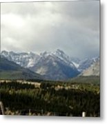Over The Fence To Dusted Mountains Metal Print