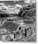 Over The Rooftops At Portree In Greyscale 2 Metal Print
