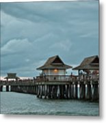 Clouds Over The Naples Pier Metal Print