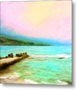 Overcast Sunset At Napoopoo Beach Park Metal Print