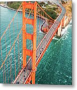 Overhead Aerial Of Golden Gate Bridge, San Francisco, Usa Metal Print