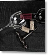 Overhead View Of Vintage Corkscrew With Red Wine Bottle And Glas Metal Print