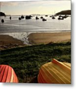 Overturned Boats On Shore Of Harbor Metal Print