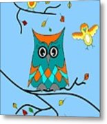 Owl And Birds - Whimsical Metal Print
