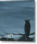 Owl And The Moon Metal Print