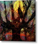 Owl And Willow Tree Metal Print