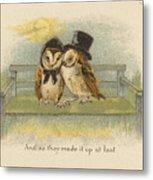 Owl Couple On Bench Metal Print