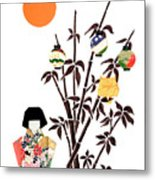 Owl In Bamboo By Mary Ellen Palmeri Metal Print