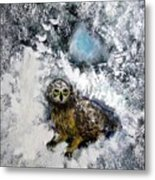 Owl On Snowy Afternoon Metal Print