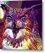 Owl The Female Eagle Owl Bird  Metal Print