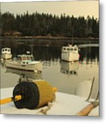 Owls Head Boats In The Snow Metal Print