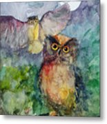 Owls In The Night... Metal Print