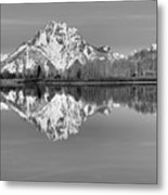 Oxbow Bend Morning Black And White Metal Print