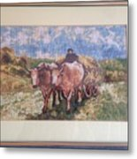 Oxcart After Nicolae Grigorescu Metal Print