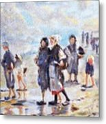 Oyster Gatheres Of Cancale Metal Print