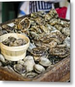 Oysters At The Market Metal Print
