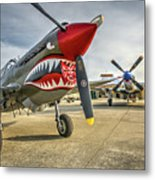 P40 Warhawk And P51d Mustang On The Ramp Metal Print