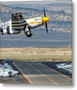 P51 Mustang Little Horse Gear Coming Up Friday At Reno Air Races 16x9 Aspect Signature Edition Metal Print