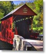 Pa Country Roads - Ebenezer Covered Bridge Over Mingo Creek No. 2a - Autumn Washington County Metal Print