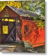 Pa Country Roads - Henry Covered Bridge Over Mingo Creek No. 3a - Autumn Washington County Metal Print