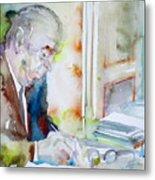Pablo Neruda - Watercolor Portrait.8 Metal Print