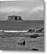 Pacific Ocean Coastal View Black And White Metal Print
