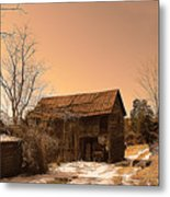 Packing Barn In Winter Metal Print