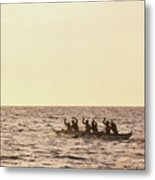 Paddlers Silhouetted Metal Print
