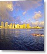 Paddling Beneath Rainbow Metal Print by Carl Shaneff - Printscapes