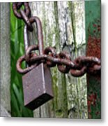 Padlocked Gate Metal Print