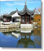 Pagoda In The Pool Metal Print