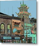 Pagoda Tower Chinatown Chicago Metal Print